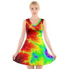 Misc Fractals V-Neck Sleeveless Skater Dress