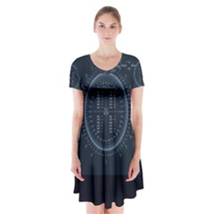 Minimalistic Knowledge Mathematics Trigonometry Short Sleeve V-neck Flare Dress