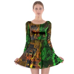 Minecraft Fractal Long Sleeve Skater Dress