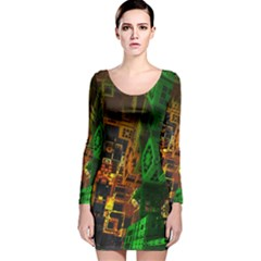 Minecraft Fractal Long Sleeve Velvet Bodycon Dress