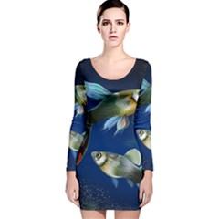 Marine Fishes Long Sleeve Velvet Bodycon Dress