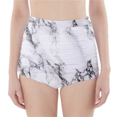 Marble Pattern High-Waisted Bikini Bottoms