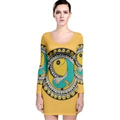 Madhubani Fish Indian Ethnic Pattern Long Sleeve Velvet Bodycon Dress