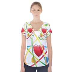 Love Short Sleeve Front Detail Top