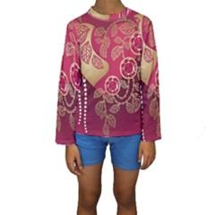 Love Heart Kids  Long Sleeve Swimwear