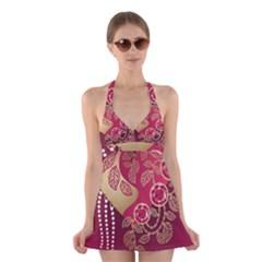 Love Heart Halter Swimsuit Dress
