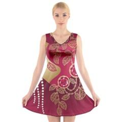 Love Heart V-Neck Sleeveless Skater Dress