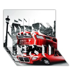 London Bus Miss You 3D Greeting Card (7x5)