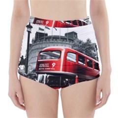 London Bus High-Waisted Bikini Bottoms