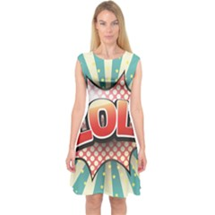 Lol Comic Speech Bubble  Vector Illustration Capsleeve Midi Dress