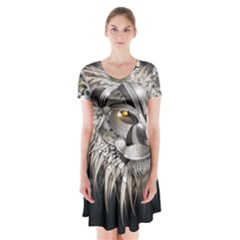 Lion Robot Short Sleeve V-neck Flare Dress