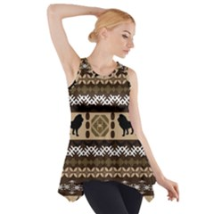 Lion African Vector Pattern Side Drop Tank Tunic