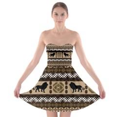 Lion African Vector Pattern Strapless Bra Top Dress