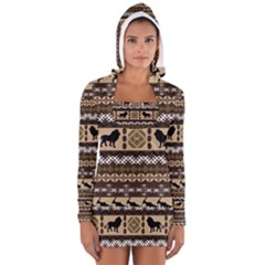 Lion African Vector Pattern Women s Long Sleeve Hooded T-shirt