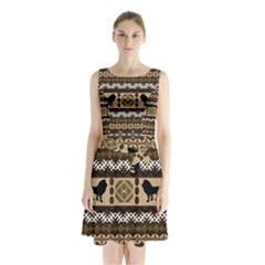 Lion African Vector Pattern Sleeveless Chiffon Waist Tie Dress