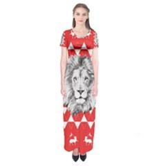 Lion & Lamb Minimalist Pattern Short Sleeve Maxi Dress