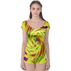 Leaf And Rainbows In The Wind Boyleg Leotard