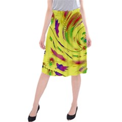Leaf And Rainbows In The Wind Midi Beach Skirt