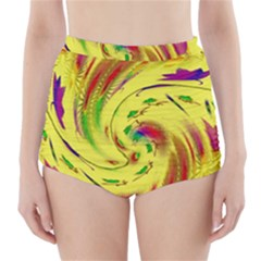 Leaf And Rainbows In The Wind High Waisted Bikini Bottoms