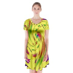 Leaf And Rainbows In The Wind Short Sleeve V-neck Flare Dress
