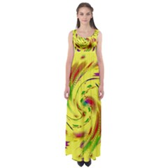 Leaf And Rainbows In The Wind Empire Waist Maxi Dress