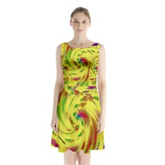 Leaf And Rainbows In The Wind Sleeveless Chiffon Waist Tie Dress
