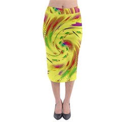 Leaf And Rainbows In The Wind Midi Pencil Skirt