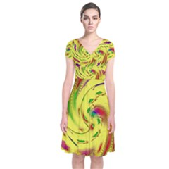 Leaf And Rainbows In The Wind Short Sleeve Front Wrap Dress