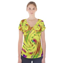 Leaf And Rainbows In The Wind Short Sleeve Front Detail Top
