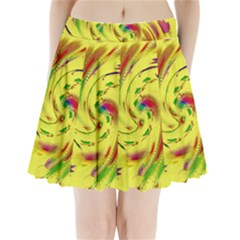 Leaf And Rainbows In The Wind Pleated Mini Skirt