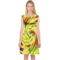 Leaf And Rainbows In The Wind Capsleeve Midi Dress