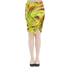 Leaf And Rainbows In The Wind Midi Wrap Pencil Skirt