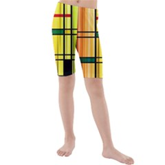 Line Rainbow Grid Abstract Kids  Mid Length Swim Shorts