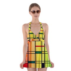 Line Rainbow Grid Abstract Halter Swimsuit Dress