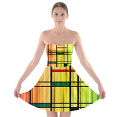 Line Rainbow Grid Abstract Strapless Bra Top Dress