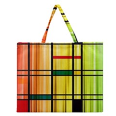 Line Rainbow Grid Abstract Zipper Large Tote Bag