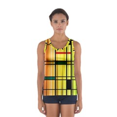 Line Rainbow Grid Abstract Women s Sport Tank Top