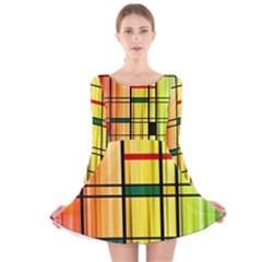 Line Rainbow Grid Abstract Long Sleeve Velvet Skater Dress
