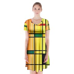 Line Rainbow Grid Abstract Short Sleeve V-neck Flare Dress