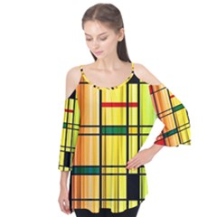 Line Rainbow Grid Abstract Flutter Tees