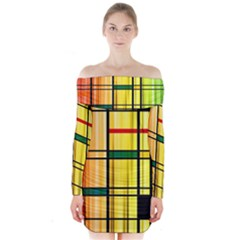 Line Rainbow Grid Abstract Long Sleeve Off Shoulder Dress