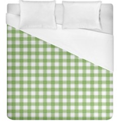 Avocado Green Gingham Classic Traditional Pattern Duvet Cover (king Size)