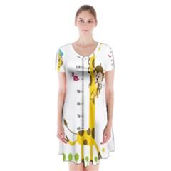 Cute Giraffe Monkey Short Sleeve V-neck Flare Dress
