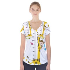 Cute Giraffe Monkey Short Sleeve Front Detail Top