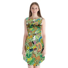 D Pattern Sleeveless Chiffon Dress