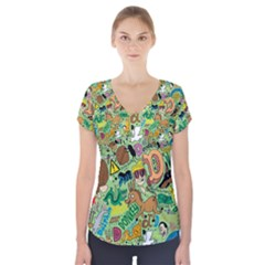 D Pattern Short Sleeve Front Detail Top