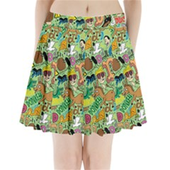 D Pattern Pleated Mini Skirt
