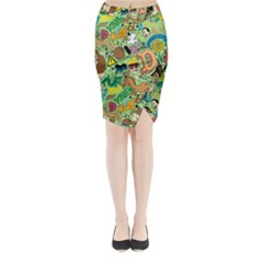 D Pattern Midi Wrap Pencil Skirt