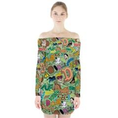 D Pattern Long Sleeve Off Shoulder Dress