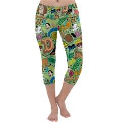 D Pattern Capri Yoga Leggings